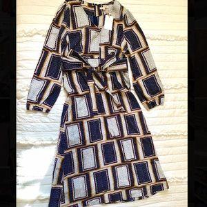 Navy Patterned Midi Dress